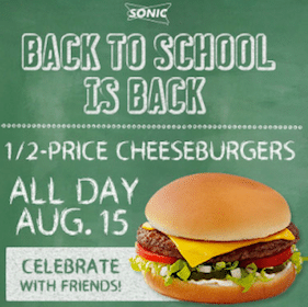 Sonic Drive-In: 1/2 Price Cheeseburgers (8/15 Only)
