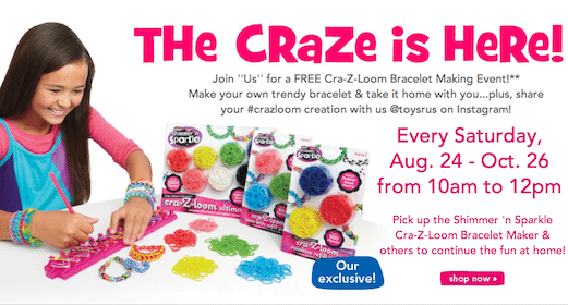 Cra-Z-Loom Bracelet Making Event at Toys R Us on Saturday