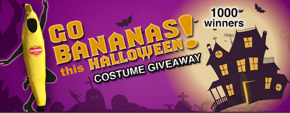 "Del Monte ""Go Bananas This Halloween!"" Costume Giveaway: 1,000 Win a Banana Costume"