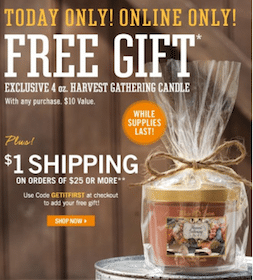 Bath & Body Works Promo:  Harvest Candle ($10 Value!) with Any Purchase