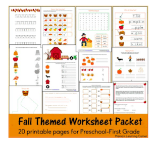 Fall Worksheet Printable Pack for Preschoolers