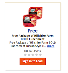 Kroger & Affiliates eCoupon: FREE Package of Hillshire Farm BOLD Lunchmeat