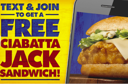 Long John Silver's Coupon: FREE Ciabatta Jack Sandwich (Text Offer)