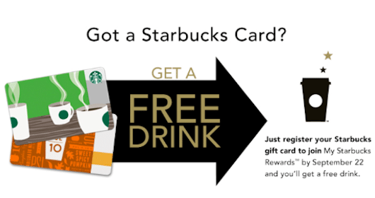 Starbucks Drink Through 9/22 for New Starbucks Rewards Program Members