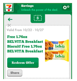 7-Eleven Mobile Coupon: FREE Belvita Breakfast Biscuit