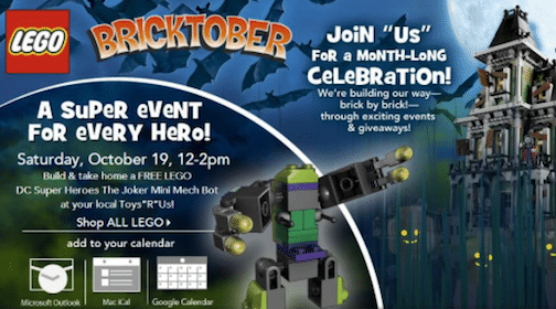Toys R Us Event: LEGO DC Super Heroes The Joker Mini Mech Bot Build on 10/19