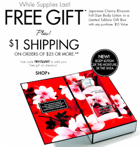 Bath & Body Works: Full-Size Japanese Cherry Blossom Body Lotion ($15 Value) with ANY Purchase TODAY