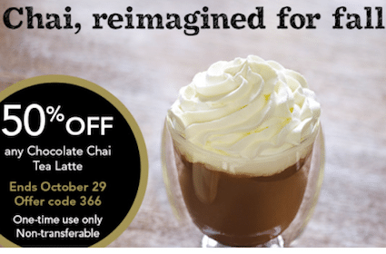 50% Off Chocolate Chai Tea Latte (Select Starbucks Rewards Card Members Only)