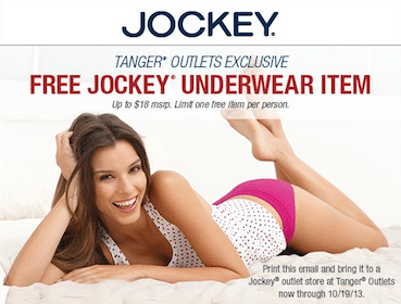 Jockey underwear item at Tanger Outlets