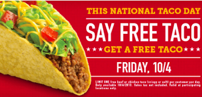 Taco Bueno: FREE Beef or Chicken Taco TODAY (10/4)