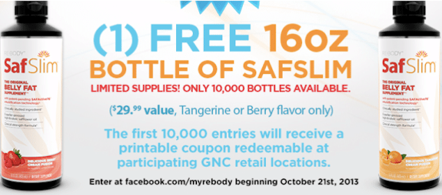 GNC Coupon: SafSlim 16 Oz Bottle – $29.99 Value (1st 10,000!)