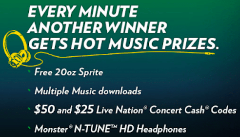Sprite Instant Win Game: 45,000 Win Concert Cash, Sprite Coupons, Music Downloads + More