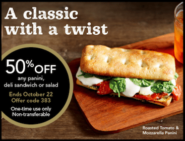 Starbucks Rewards Members Coupon: 50% Off Any Panini, Deli Sandwich or Salad + More (Check Your Email!)