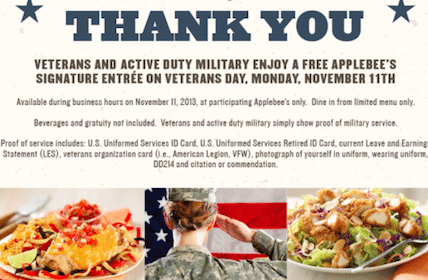 Meal at Applebee's for Active and Veteran Military on 11/11