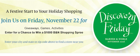 Barnes & Noble Event: Discovery Friday on Nov. 22nd