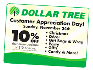 Dollar Tree Coupon: 10% Off Entire $10 Purchase on 11/24