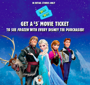 $5 Frozen Movie Ticket with Disney Tee Purchase at The Children's Place