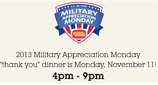 "Golden Corral: FREE ""Thank You"" Meal on November 11th for Veterans & Active Duty Military"