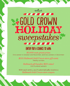 Hallmark Gold Crown Holiday Sweeps (Win $5000, and More!)