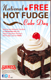 FREE Hot Fudge Cake at Shoneys on Friday, December 6th