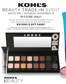 Kohl's: Trade In 2 Old Cosmetic Products on 11/16 = FREE $10 Gift Card (1st 100 Customers)