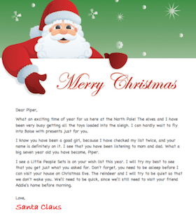 Personalized Letter from Santa Download