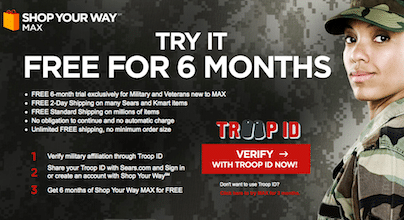 6 Month Shop Your Way MAX Membership for Military & Veteran Members = FREE Shipping