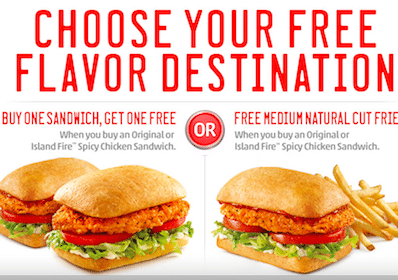 Sonic Coupon: B1G1 Free Chicken Sandwiches