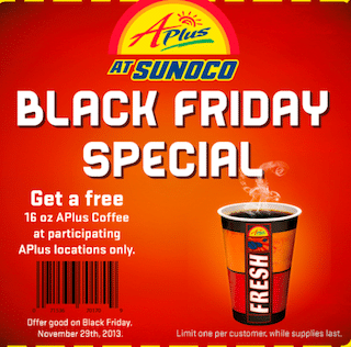 16oz Coffee at Aplus at Sunoco Stores on Black Friday