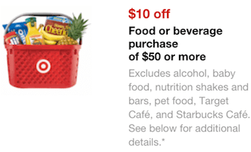 Target Mobile Coupon: Save $10 Off $50 Select Grocery or Beverage Purchase