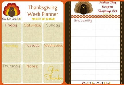 thanksgiving planners