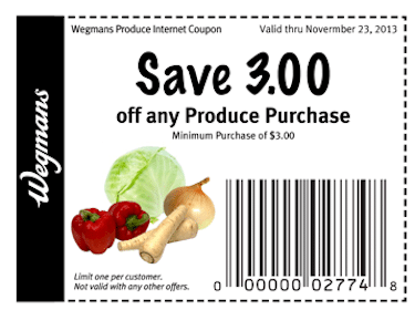 Wegmans Coupon : Save $3 Off ANY $3+ Produce Purchase