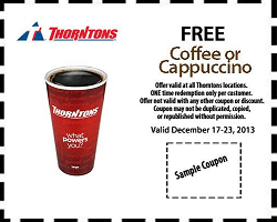 Free Coffee or Cappuccino Sample at Thorntons Stores