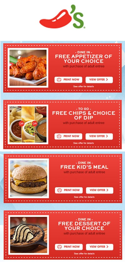 FREE Chili's Dessert/Chips+Dip/Appetizer/Kids Meal Holiday Coupons