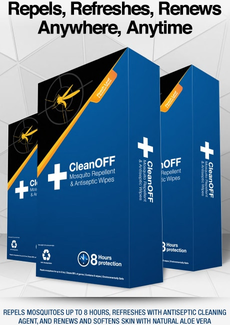 Free CleanOFF Mosquito Repellent and Antiseptic Wipes