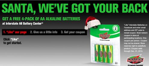 4-Pack of Interstate Alkaline Batteries