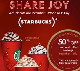 Starbucks Rewards Coupon: 50% Off Any Handcrafted Beverage (Select Starbucks Rewards Accounts)
