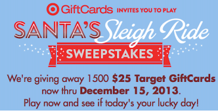 Target's Santa Sweeps & Instant Win Game: 1,500 Win $25 Target Gift Cards + More