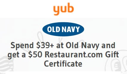 HOT DEAL: Spend $39 at Old Navy, Get $50 Restaurant.com Gift Card