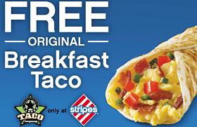 Free Original Breakfast Taco at Stripes Stores