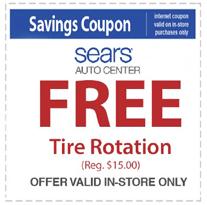 Free Tire Rotation at Sears Auto Center ($15 Value)