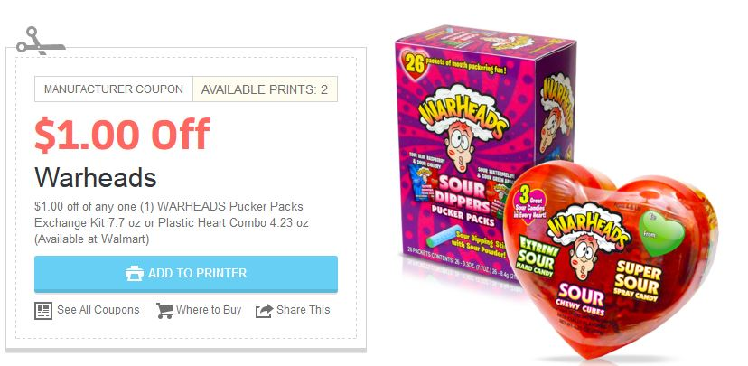 Save $1.00 off when you buy any 1 WARHEADS Plastic Heart Combo