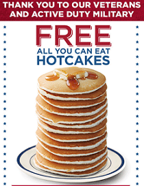 Free Pancakes for Veterans and Military at Bob Evans Today