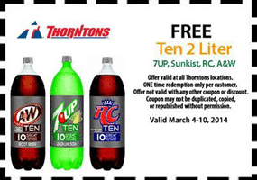 Free 7UP, Sunkist, RC, or A&W Ten 2 Liter at Thorntons