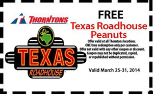 Free Texas Roadhouse Peanuts at Thorntons