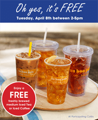 Free Iced Tea or Iced Coffee at Au Bon Pain on 4/8