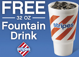 Free 32 oz Fountain Drink at Stripes Stores