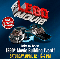 Free LEGO Movie Building Event at Toys R Us on 4/12