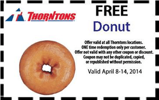 Free Donut at Thorntons Stores
