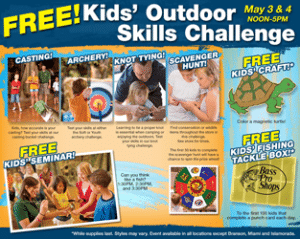 Free Kids Outdoor Skills Challenge and Fun Activities at Bass Pro on 5/3-5/4